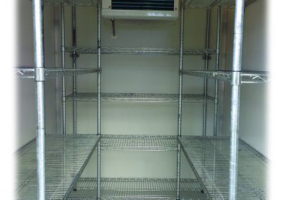 medium cold cube trailer inside shelving
